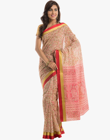 Cotton Saree With All-Over Abstract Print By Meena Bazaar