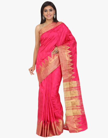 Self Jaquard Handloom Silk With Woven Zari Temple Border Saree By Meena Bazaar