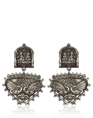 Shiv-Parvati Traditional Oxidised Silver Dangler Earrings By Meena Bazaar