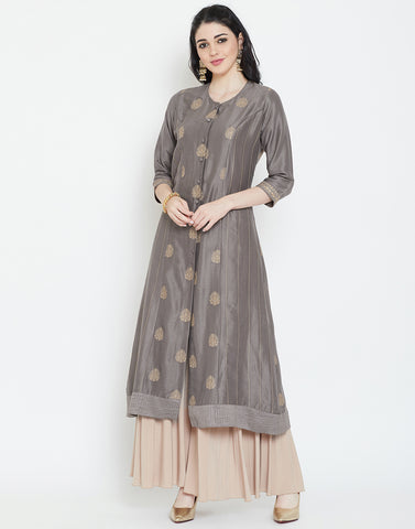 Grey Cotton Chanderi Kurti