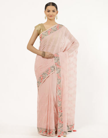 Chiffon GGT Saree With Parsi Work On Border