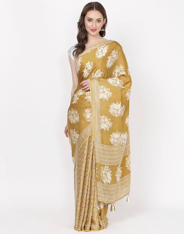 Mustard Printed Satin Saree