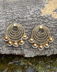 Meena Bazaar: Kundan Chandbali Earrings