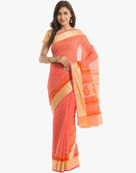 Geometrical Printed Cotton Saree by Meena Bazaar