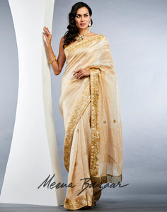 Gold Cotton Embroidered Saree
