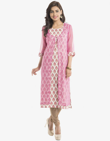 Double Layered Printed Cotton Kota Cotton Kurti By Meena Bazaar