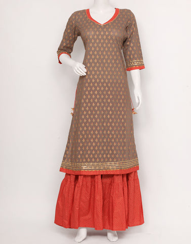 Grey Coral Cotton Kurti with Palazzo