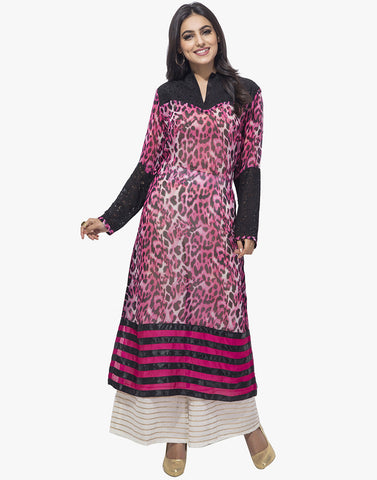 Georgette Kurti With Animal Print By Meena Bazaar
