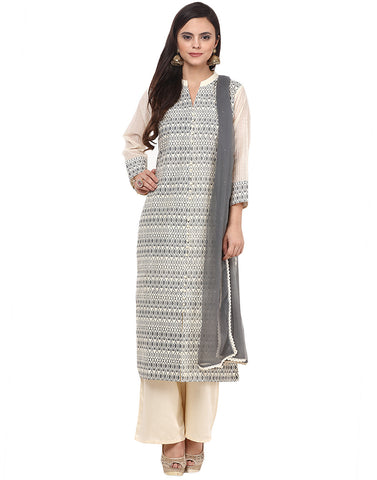 Geometrical Printed Cotton Chanderi Suit By Meena Bazaar