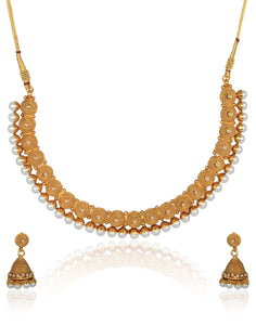 Meena Bazaar: Gold Finish Necklace Set