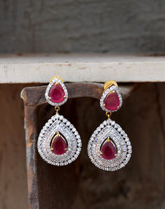 Meena Bazaar: Ruby and Diamond Drop Earrings