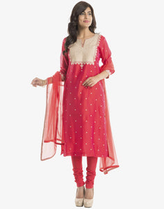 Meena Bazaar: Cotton Chanderi Suit With Yoke Embroidery