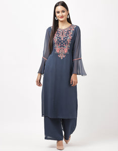 Blue Georgette Kurti with Palazzo