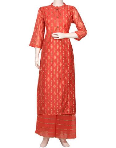 Peach Cotton Chanderi Kurti with Palazzo