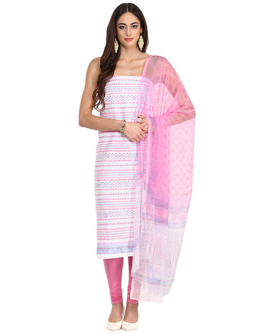 Unstitched Printed Cotton Suit By Meena Bazaar