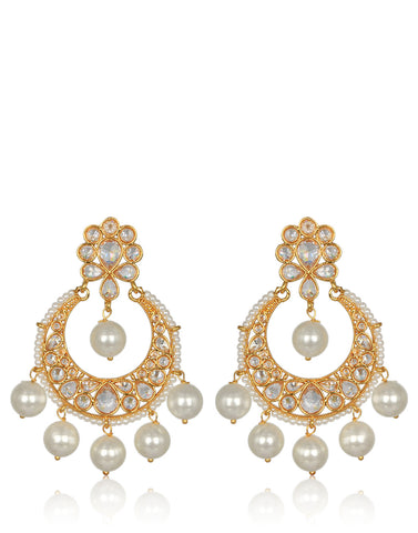 Meena Bazaar: American Stone & Pearl Chandbali Earrings