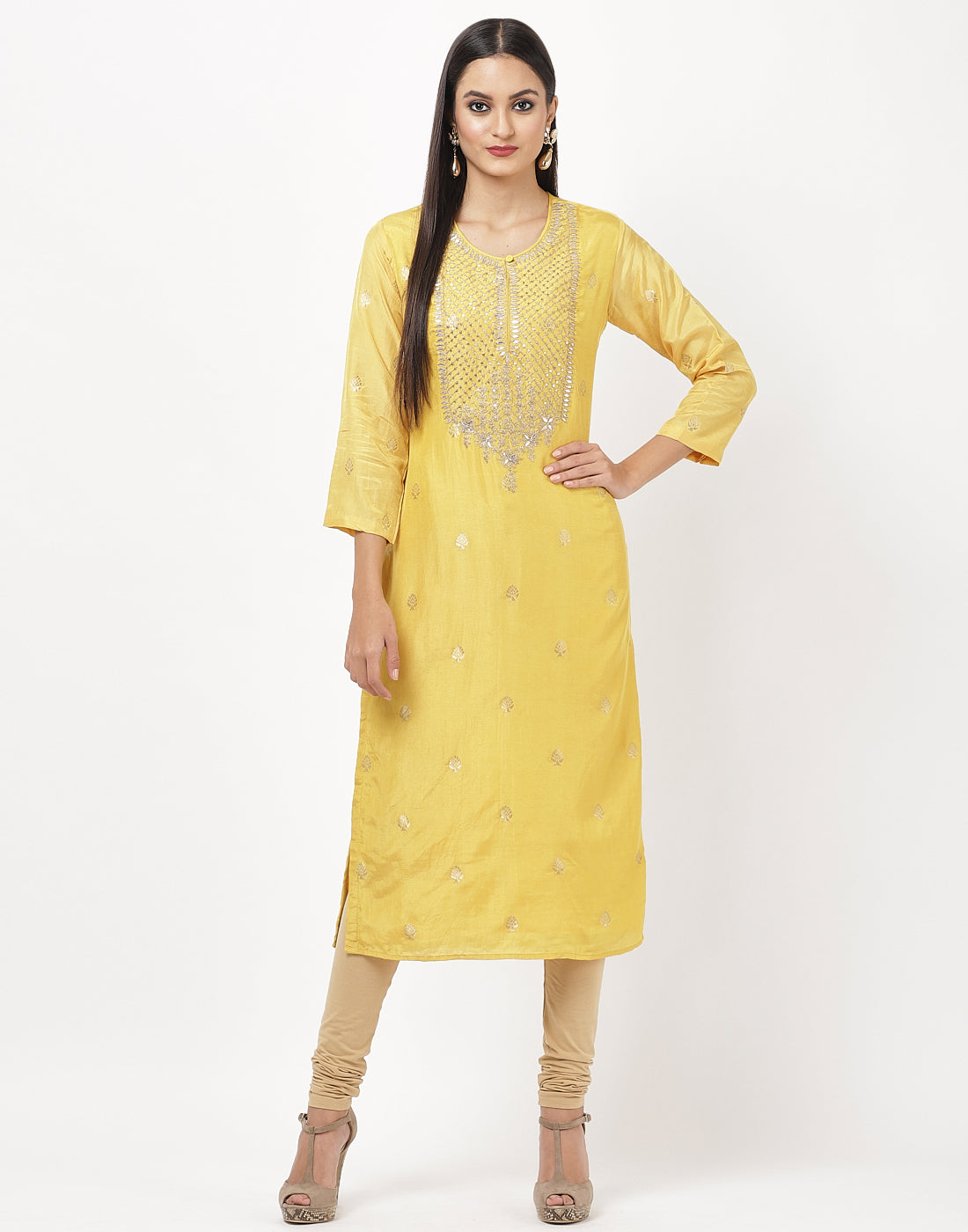 Yellow Chanderi Kurti