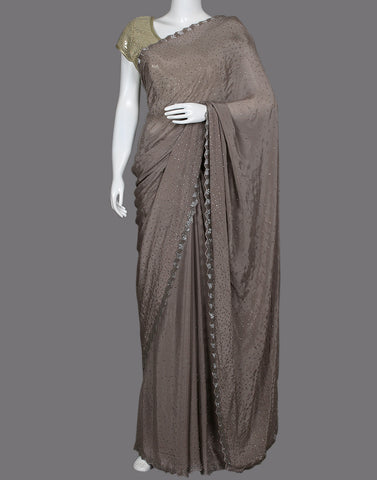 Art crepe saree with stone work