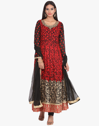Georgette Anarkali Suit With All-Over Thread Embroidery By Meena Bazaar