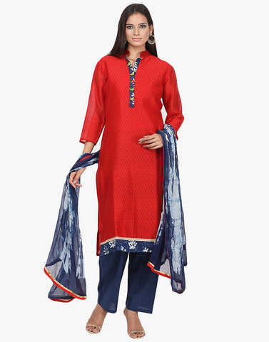 Unstitched Printed Cotton Chanderi Suit By Meena Bazaar