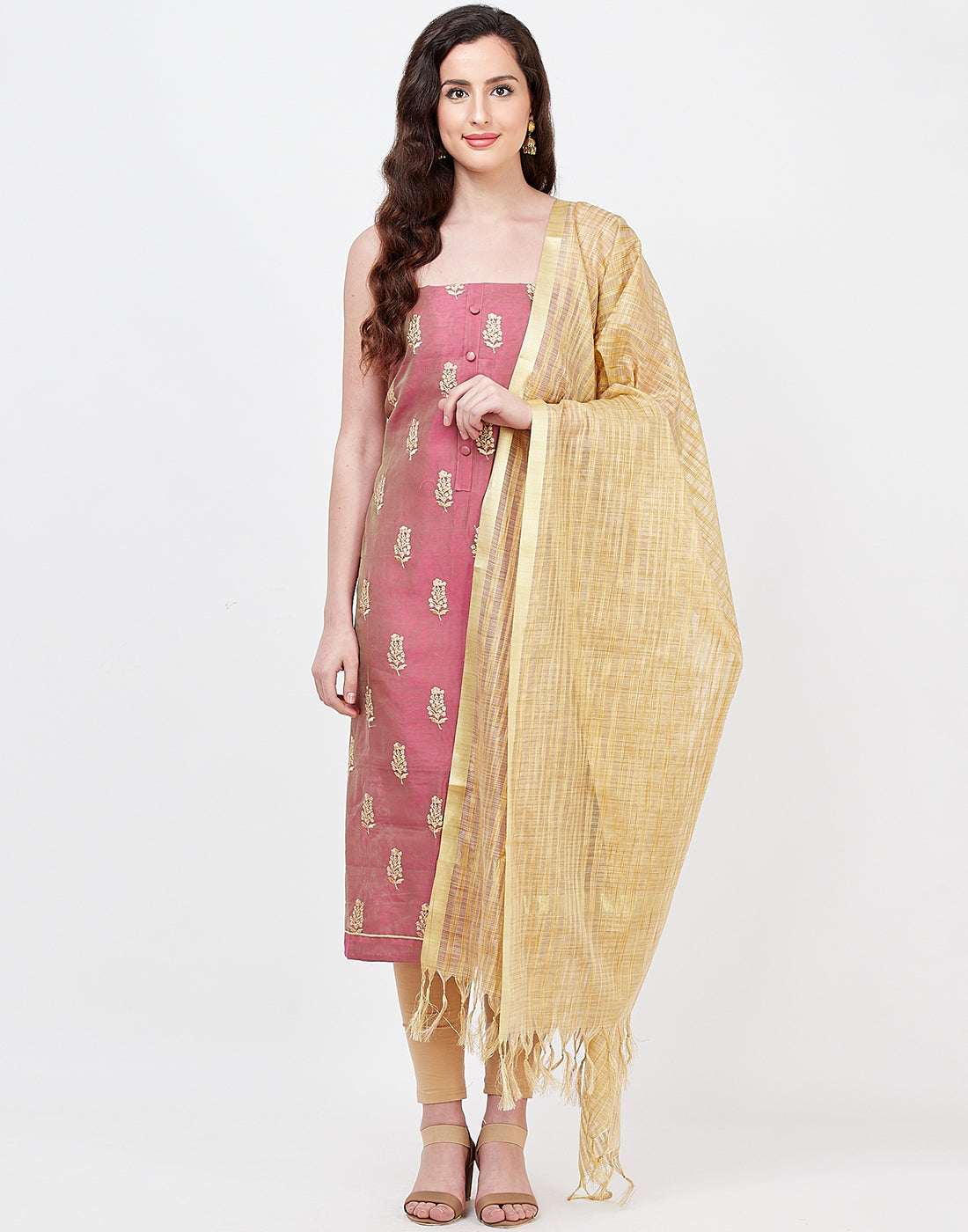 Wine Beige Chanderi Suit Set