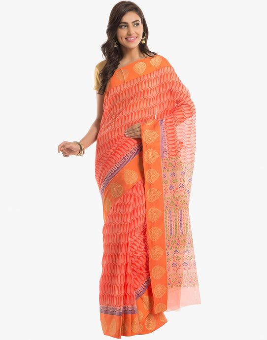 Paisley Printed Cotton Saree With By Meena Bazaar
