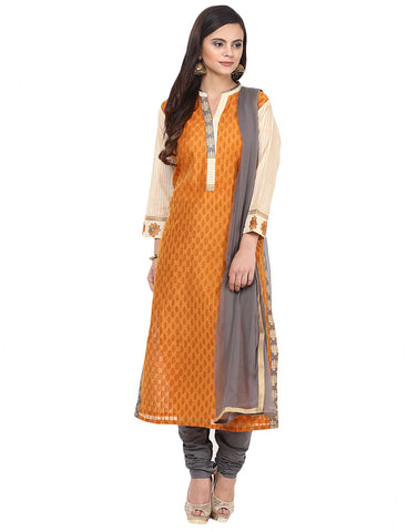 Floral Printed Cotton Chanderi Suit By Meena Bazaar
