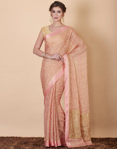 Peach Plain Georgette Saree