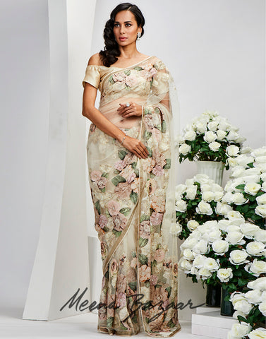 Cream Net Embroidered Saree