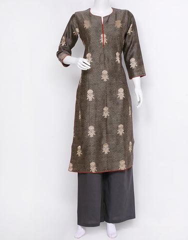 Grey Green Cotton Chanderi Kurti with Palazzo