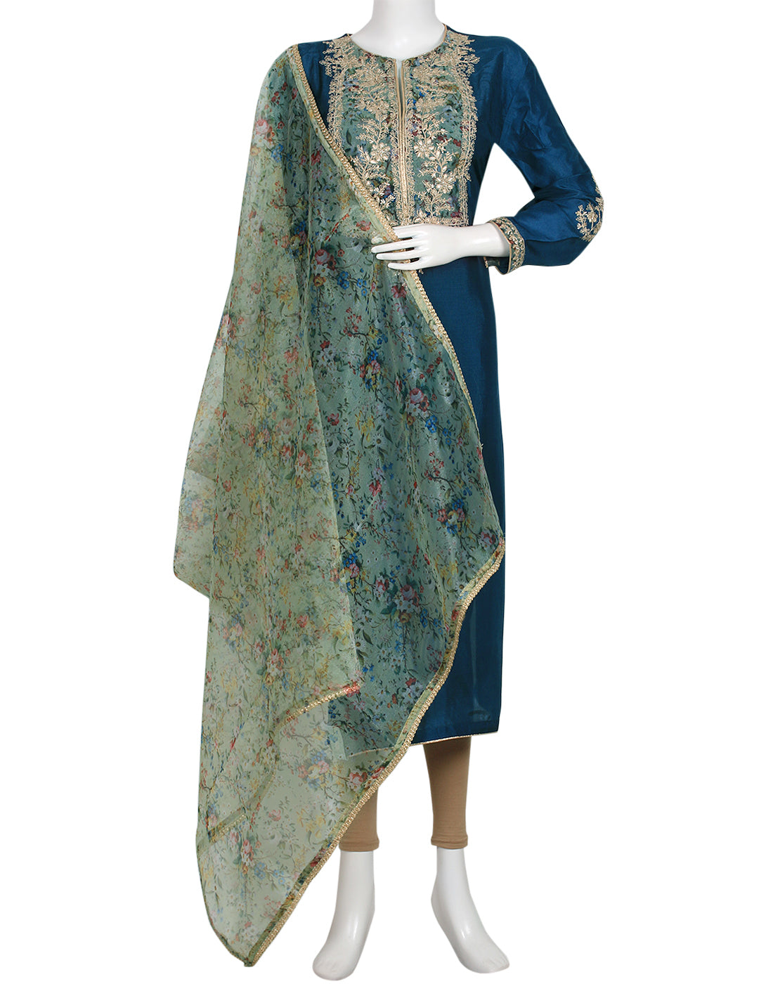 Blue Art Handloom Suit Set