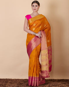 Mustard Art Handloom Embroidered Woven Saree