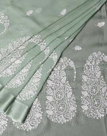 Thread Embroidered Chiffon Saree