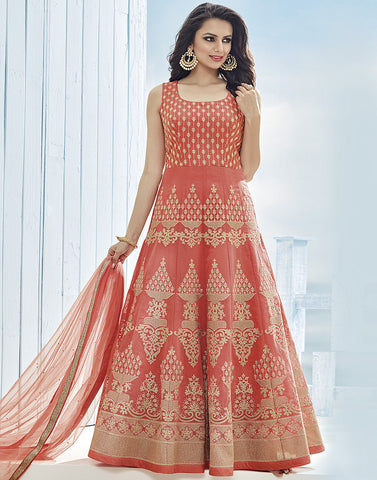 Cotton Chanderi Anarkali Suit With All-Over Floral Thread Embroidery By Meena Bazaar