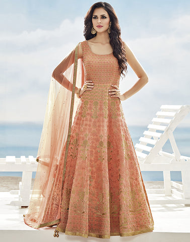 Cotton Chanderi Anarkali Suit With All-Over Floral Resham and Zari Embroidery By Meena Bazaar