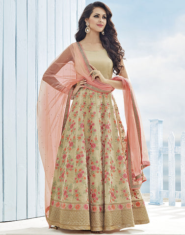 Cotton Tissue Anarkali Suit With All-Over Floral Thread Embroidery By Meena Bazaar