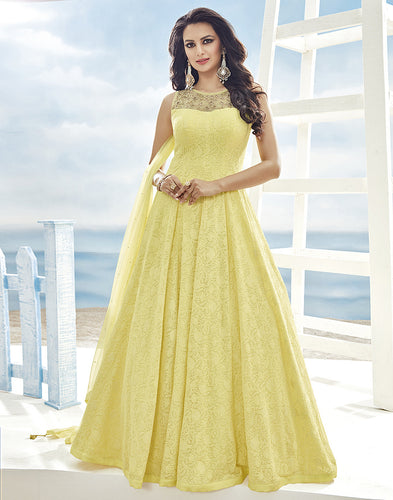 Georgette Anarkali Suit With All-Over Self Embroidery By Meena Bazaar