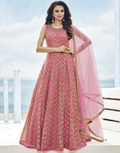 Net Anarkali Suit With All-Over Floral Zari Embroidery By Meena Bazaar