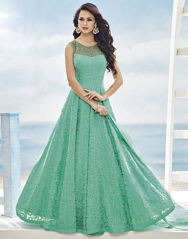 Chiffon Anarkali Suit With All-Over self Thread Embroidery By Meena Bazaar