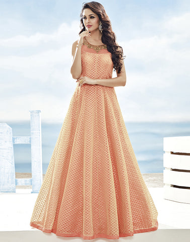 Net Anarkali Suit Embellished With All-Over Gotta Ribbon Embroidery By Meena Bazaar