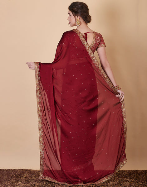 Maroon Art Georgette Embroidered Saree with Ready made Blouse