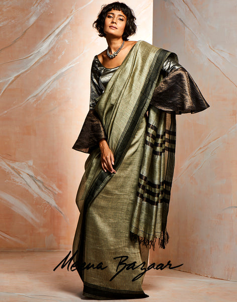 Dull Green Cotton Woven Saree