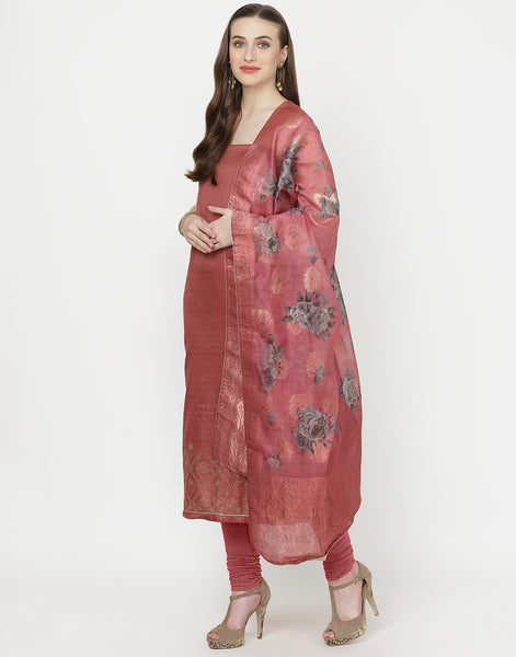 Onion Pink Art Handloom Suit Set