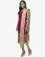 Unstitched Cotton Chanderi Suit With All-over Thread Embroidered Bootis By Meena Bazaar