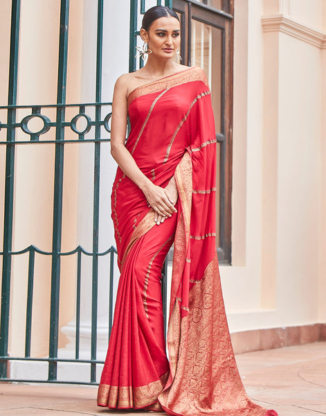 Red Woven Crepe Saree