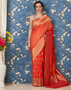 Orange Banarasi Woven Saree