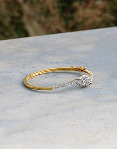 Leaf Shaped Diamond Studded Bracelet in Gold Finish