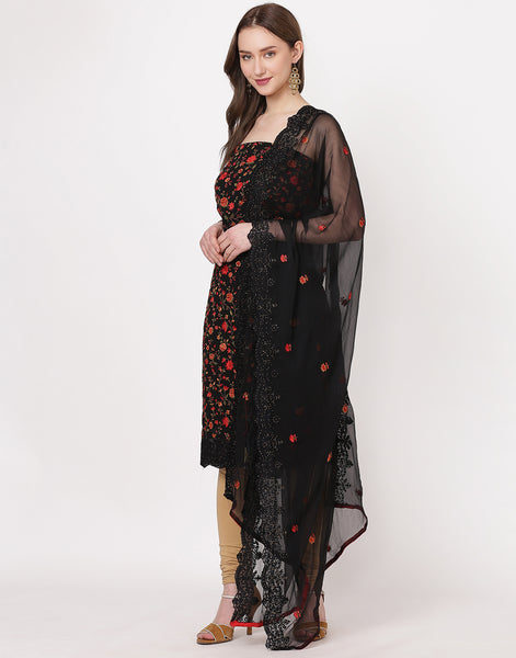 Black Art Georgette Suit Set