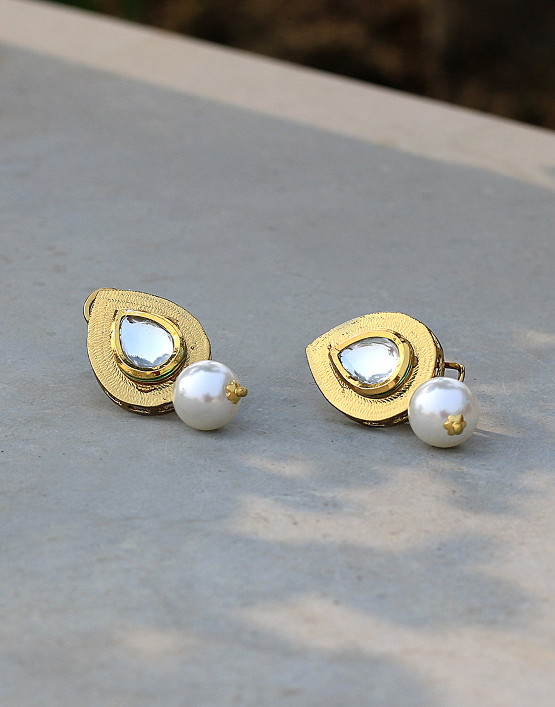 Golden-tone Statement Studs With Pearl Drop