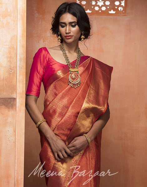 Maroon colour Kanjivaram Silk Saree